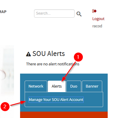 A picture of the Alerts tab in InsideSOU which contains the link to manage your SOU Alert Account.