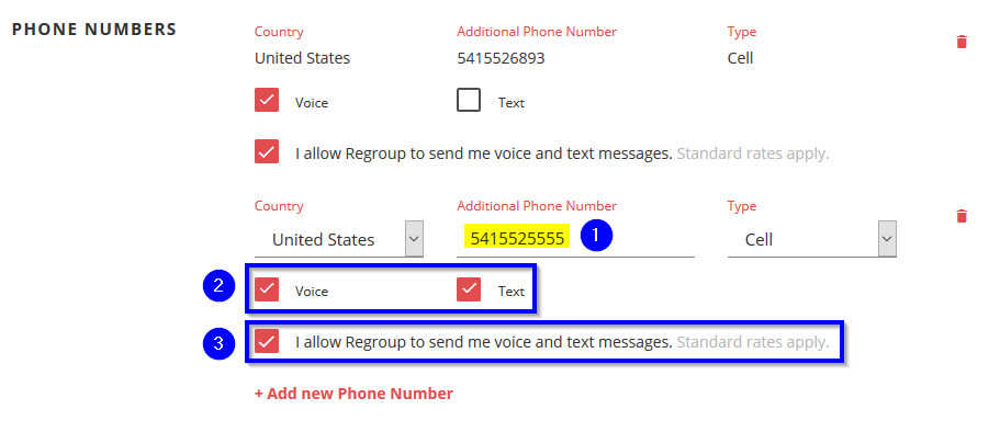 A picture of entering the phone number and checking the boxes to enable and allow voice and text alerts.