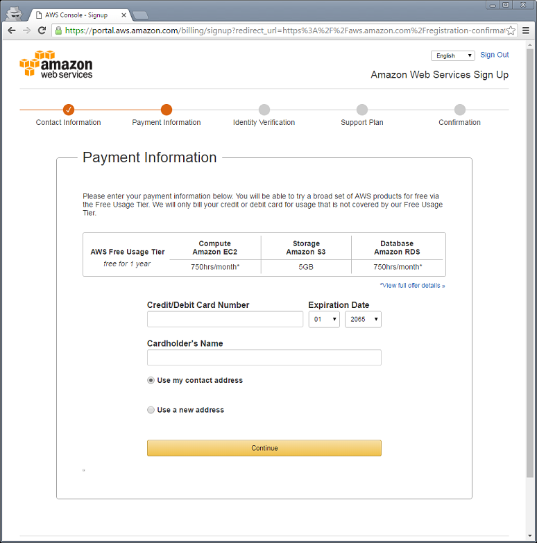 Amazon Web Services Account Creation - Knowledgebase