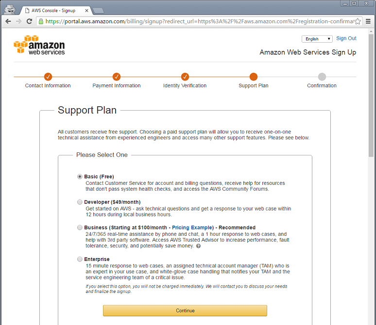 Amazon Web Services Account Creation - Knowledgebase / Account and