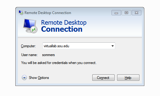 Remote Desktop VirtualLab.sou.edu
