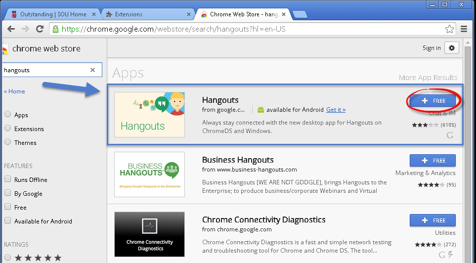 Hangouts Messenger - Knowledgebase / Application and Online