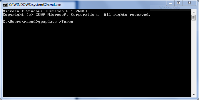 Running Gpupdate Force Within The Command Line Window