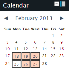 Screenshot of Moodle calendar