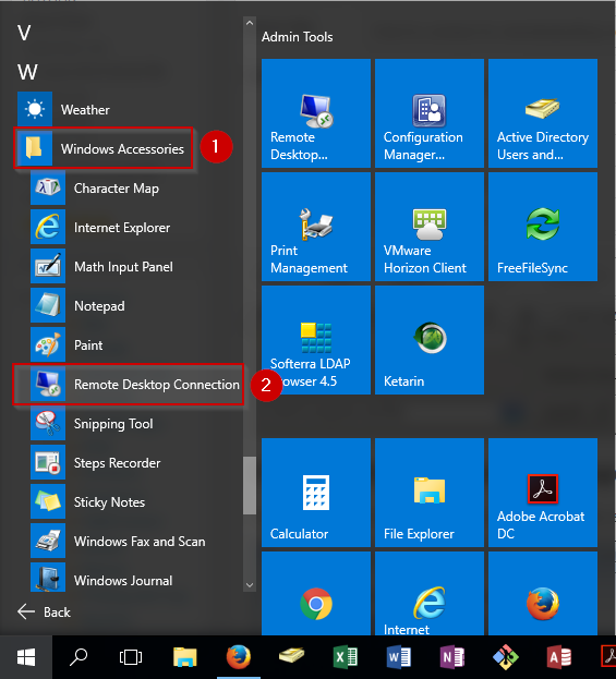 remote desktop connection rdc location in windows 10 start menu