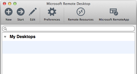 Microsoft Remote Desktop Main Window