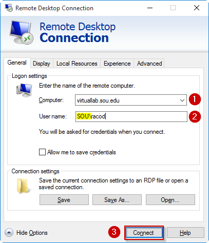 The screen showing where to enter the Computer name, your SOU username, and the Connect button.