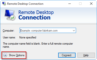 The RDC window showing the Computer field, the User name file,d and the Show Options button.